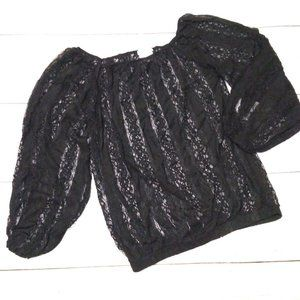 Poof! Balloon Sleeve Lace Lightweight Sweater Sz M